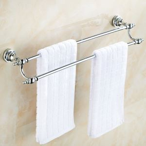 Handtuchstange Doppelt Bad aus Messing Verchromt