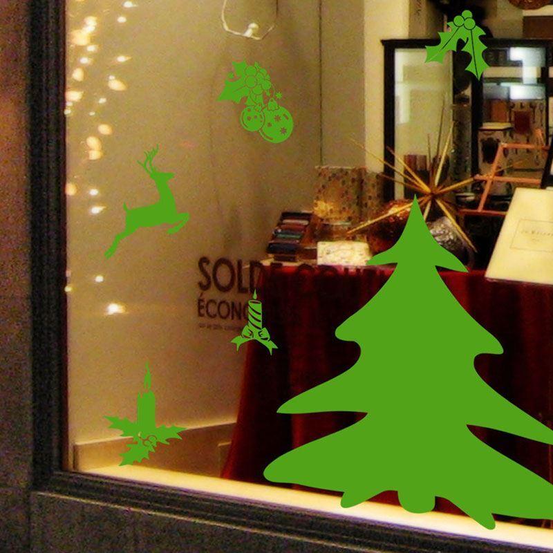 Weihnachtsdeko In Grün.Weihnachtsdeko Wandtattoo Grün Weihnachtsbaum Rentieren Für Fenster