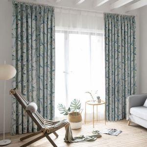 Vorhang Zweig Design aus Leinen in Blau (1er Pack)