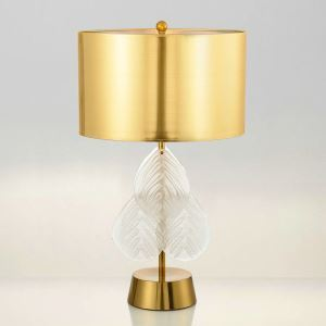 Tischleuchte aus Glas Blätter Design mit Stoff Schirm 1 flammig