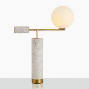 Tischleuchte Stilvoll aus Marmor mit Stoff Schirm 1 flammig