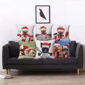 Weihnachten Kissenhülle Hunde Motiv aus Baumwolle und Leinen