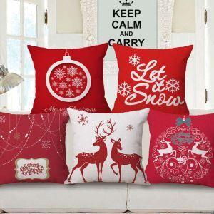 Kissenhüllen Weihnachten Motiv Rot aus Baumwolle und Leinen