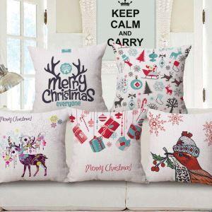 Frohe Weihnachten Kissenbezug Davidshirsch aus Baumwolle und Leinen