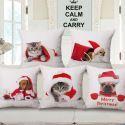 Kreative Kissenhülle Weihnachten Motiv Katze Hund Muster aus Baumwolle und Leinen