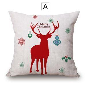 Merry Christmas Kissenbezug Davidshirsch aus Baumwolle und Leinen