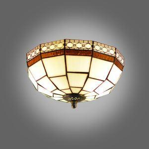 (EU Lager)Tiffany Deckenlampe aus Glas Geometrisch Design 2 flammig