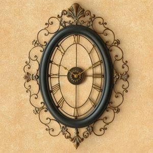 Wanduhr Lautlos Vintage Oval Design aus Metall