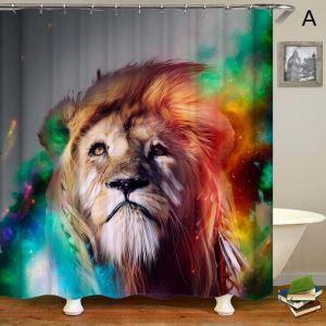 Kreativer Duschvorhang Löwen Muster für Badezimmer