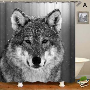 3D Duschvorhang Wolf Muster Wasserdicht und Anti-Schimmel