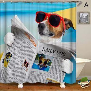 Moderner Duschvorhang 3D Hunde Motiv