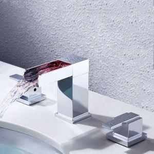 Led Waschtischarmatur Zweigriff Wasserfall 3 Loch in Chrom