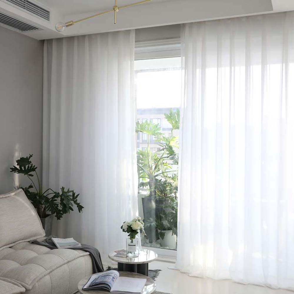 Gardine Transparent Modern in Weiß