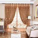 Moderne Gardine Braun Jacquard Lotus im Wohnzimmer