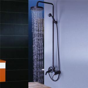 Duschsystem Wandmontage mit Regendusche und Handbrause in Schwarz
