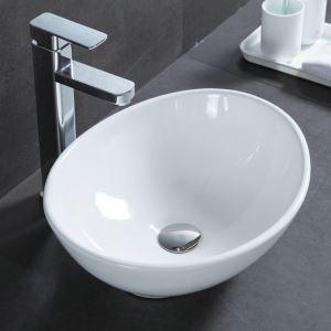 Keramik Waschbecken Weiß Aufsatzwaschbecken Oval 41cm (ohne Wasserhahn)