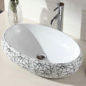 Keramik Waschbecken Weiß Geometrisches Muster Oval 48cm im Badezimmer (ohne Wasserhahn)