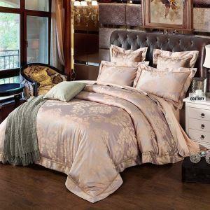 Klassische Bettwäsche Jacquard Design Rosa 4-teilig Retro Stil