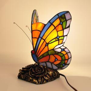 Nachttischlampe Tiffany Stil aus Glas Schmetterling Design 1 flammig