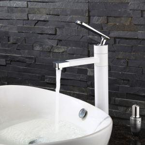 Waschtischmischer Einhand Hoch Auslauf Drehbar in Schwarz / Weiß