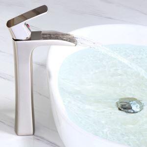 Einhebelmischer Waschbecken Wasserfall aus Messing Gebürstet