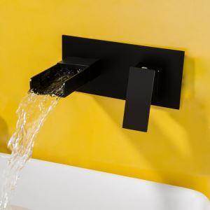 Einhebelmischer Waschbecken Wandmontage in Schwarz