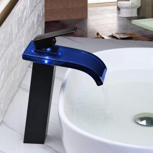 Led Waschtischarmatur Glas Wasserfall Einhand in Schwarz