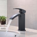 Wasserhahn Wasserfall für Waschtisch Einhand in Schwarz