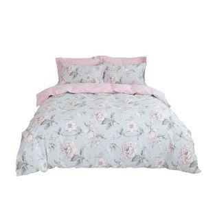 Landhaus Bettwäscheset Blumen Motiv aus Baumwolle  4-teilig