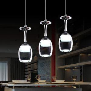 LED Pendelleuchte Weinglas Design 3-flammig