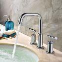 Wasserhahn Waschbecken Zweigriff aus Messing in Chrom