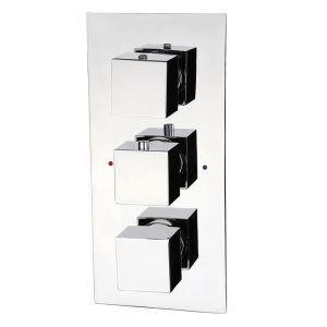 3-Wege Unterputzventilen für Thermostat Duschsystem aus verchromtem Messing