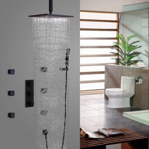 Duschsystem Unterputz Wandmontage mit Sprühlstahl in Schwarz