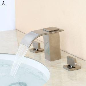 Waschtischarmatur Wasserfall Zweigriff Gebürstet aus Messing