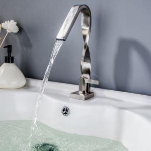 Waschtischarmatur Spiral Design Einhebel Gebürstet