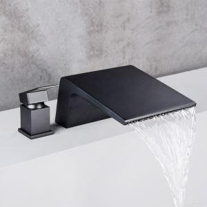 Wannenrandarmatur Wasserfall Einhand 2 Loch in Schwarz / Chrom