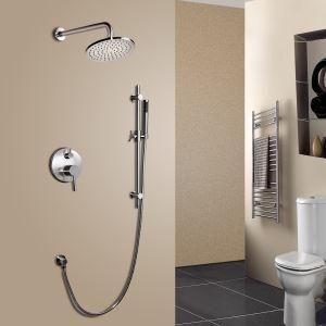 Duschsystem Unterputz Wandmontage Regenfall Nickel Gebürstet