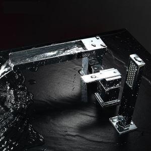 Wannenrandarmatur 3 Loch mit Handbrause Einhebel in Chrom