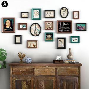 Moderne Wand Bilderrahmen aus Holz 16er - Set