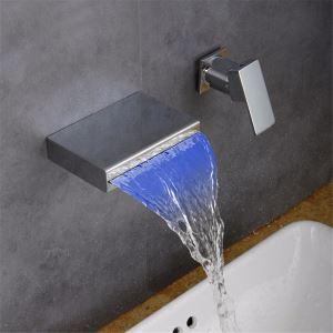 Led Waschtischarmatur Einhebel Wasserfall Wandmontage in Chrom