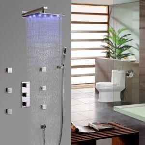 Led Duschsystem Unterputz Wandmontage Regenfall mit Körper Sprühdüsen Gebürstet