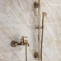 Duscharmatur Wandmontage Einhand mit Handbrause in Antik Messing