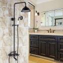 Duschsystem Aufputz Wandmontage Regenfall in Schwarz