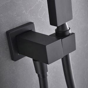 Handbrausehalter mit Wandanschlussbogen Eckig 360 Grad Drehbar in Schwarz