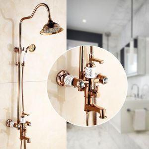 Duschsystem Aufputz Wandmontage mit Handbrause in Rosegold