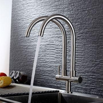 Wasserhahn Küche Kaltwasser mit Zweigriff Zwei Auslauf aus Edelstahl