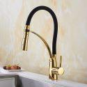 Küchenarmatur Einhebelmischer Stilvoll in Schwarz Gold