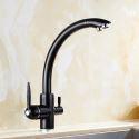 3 Wege Armatur Küchenarmatur für Wasserfilter Zweigriff aus Messing in Schwarz