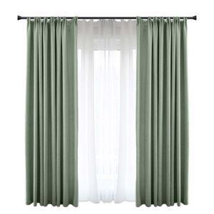 Moderner Vorhang Grün aus Polyester und Leinen für Wohnzimmer