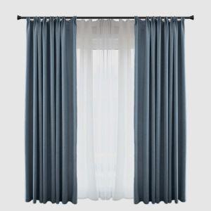 Moderner Vorhang Blau aus Polyester und Leinen für Schlafzimmer